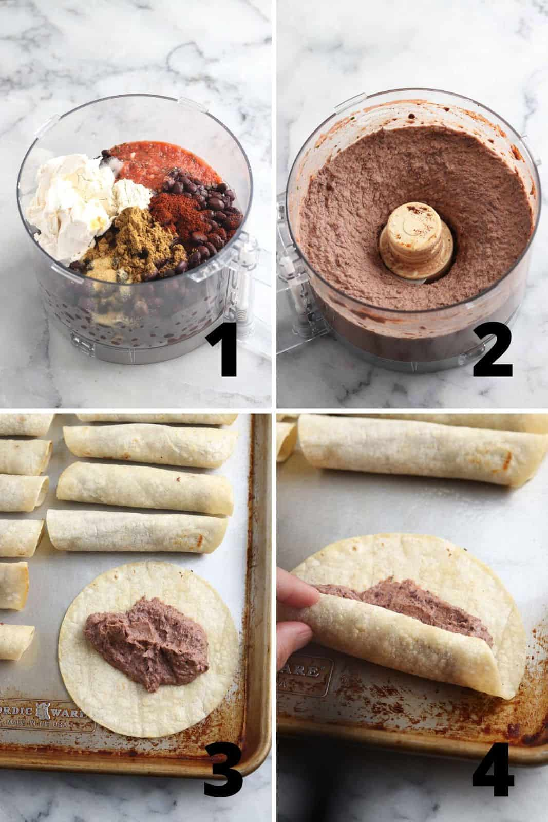 collage of four showing ingredients and steps for how to make black bean taquitos: process beans in a blender, stuff taquitos, and roll them up.