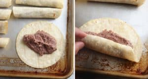 collage of 2 photos for how to roll up taquitos with vegan bean filling