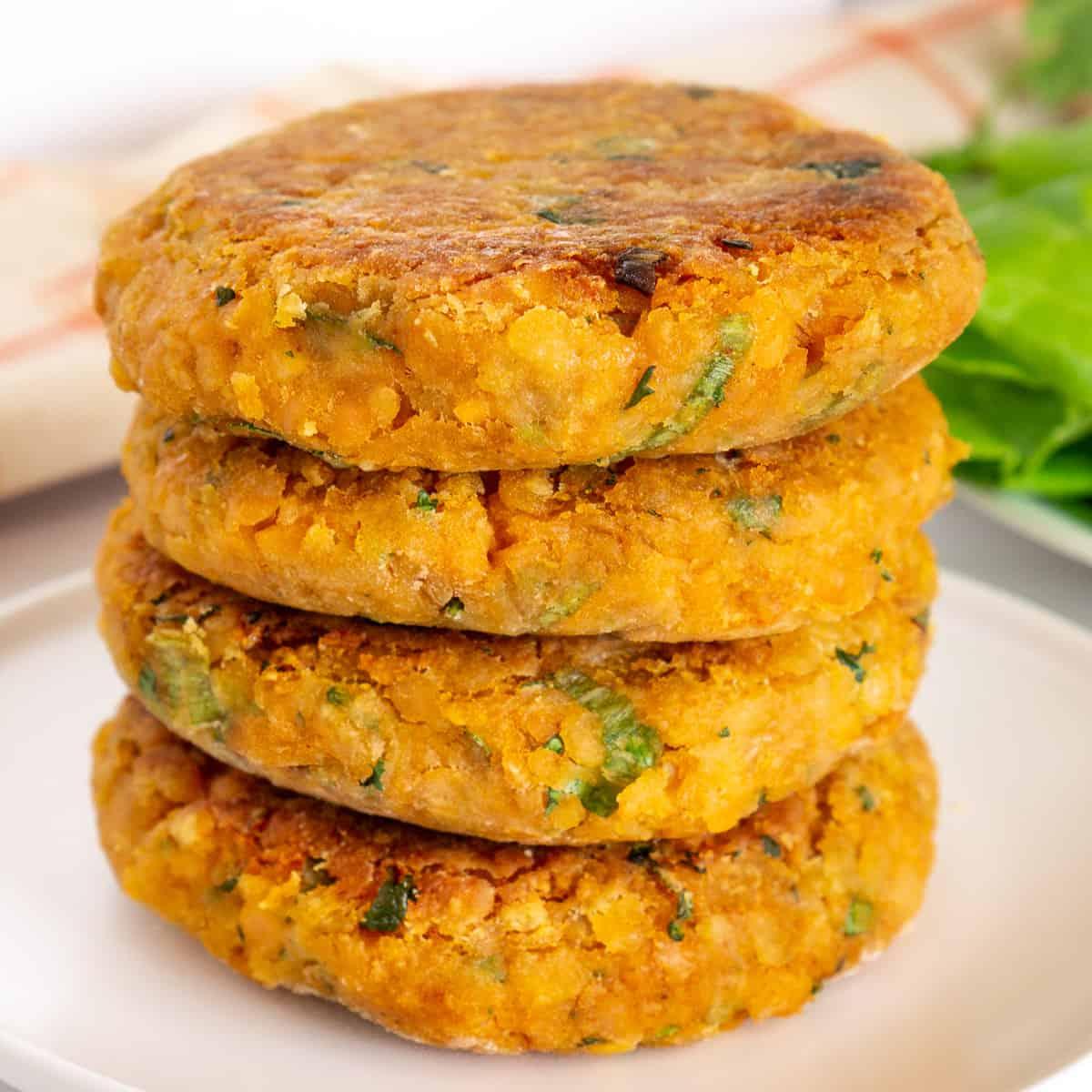 stack of 4 vegan lentil patties