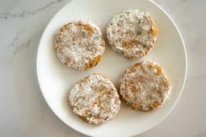 lentil patties dredged in flour on a plate