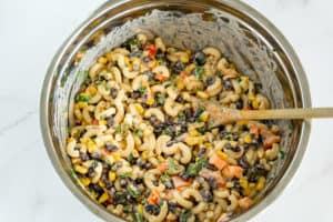 creamy vegan mexican pasta salad in a bowl