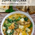 pinnable image of a bowl of vegan zuppa toscana in a white bowl