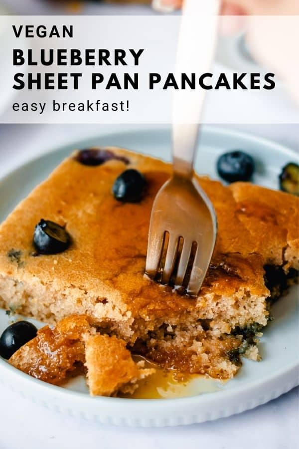 pinnable image of blueberry vegan sheet pancakes