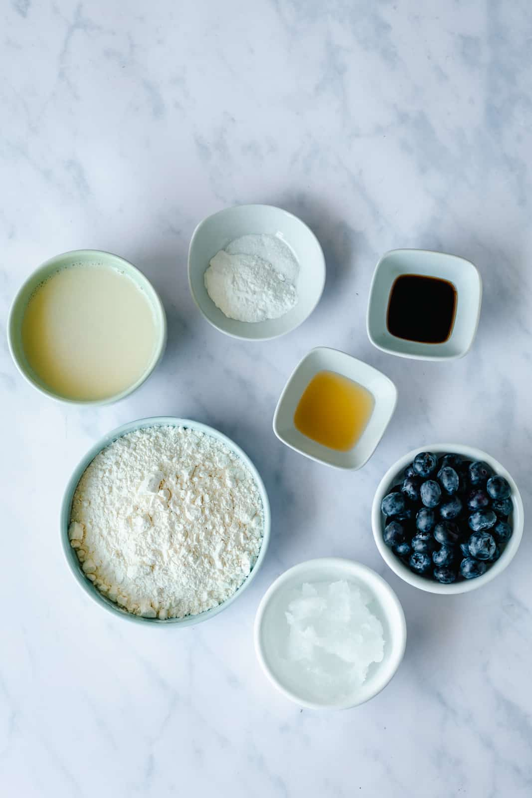 ingredients for vegan blueberry sheet pan pancakes