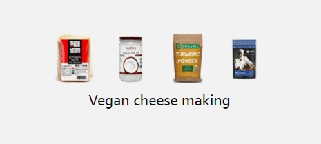 screenshot of amazon storefront - vegan cheese making products