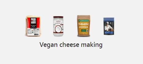 screenshot of amazon storefront - vegan cheese making products