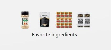 screenshot of amazon storefront - vegan ingredients