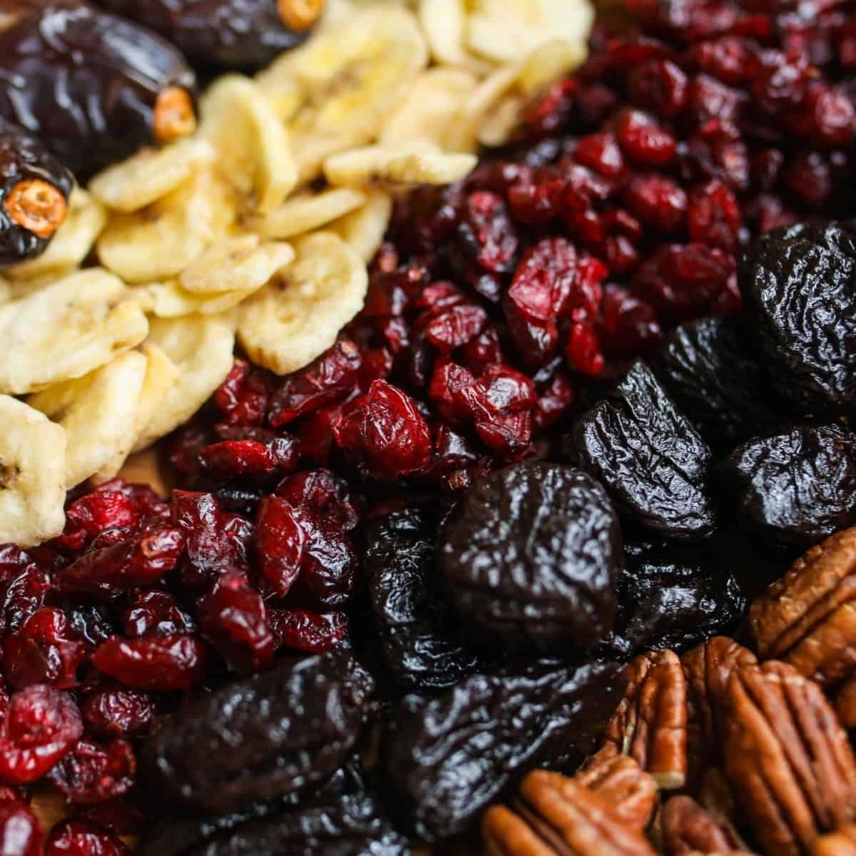 dried fruit: cranberries, dried cherries, banana chips, and pecans