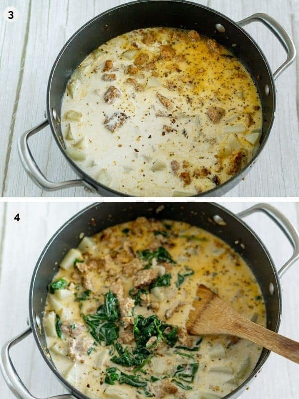 collage of photos for how to make vegan zuppa toscana - adding the creamy sauce and spinach