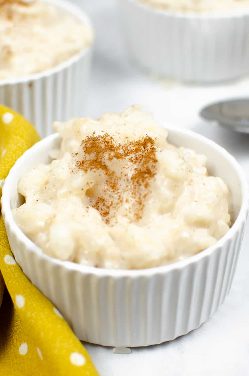 close up of cinnamon vegan rice pudding in a ramekin