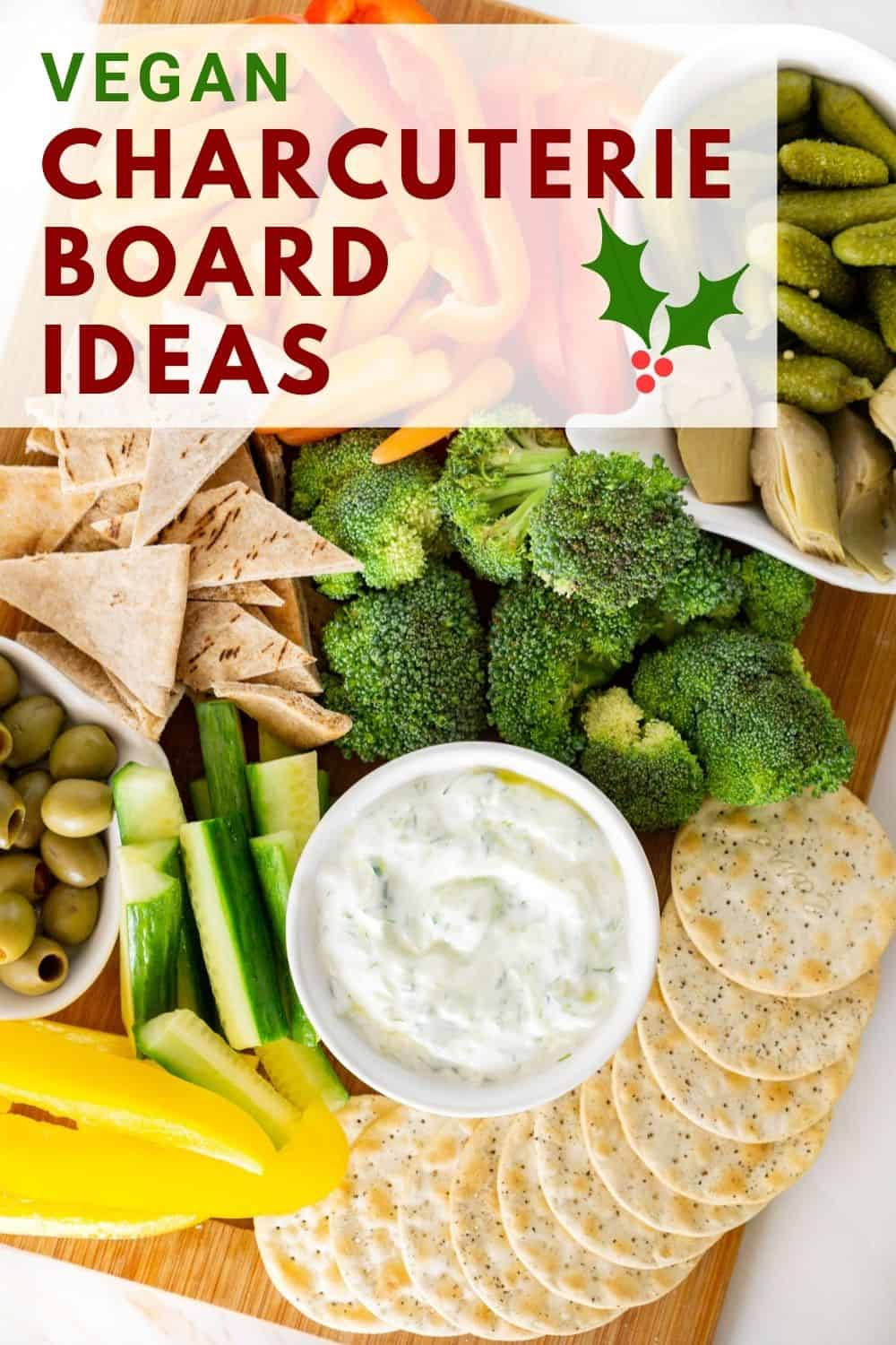 pinnable image of vegan charcuterie board ideas