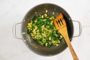 sauteed kale, apple fresh herbs, celery, garlic, onion for stuffing