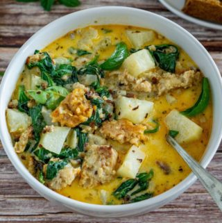 vegan zuppa toscana in a white bowl