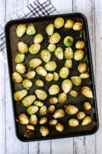 pan of roasted brussels sprouts