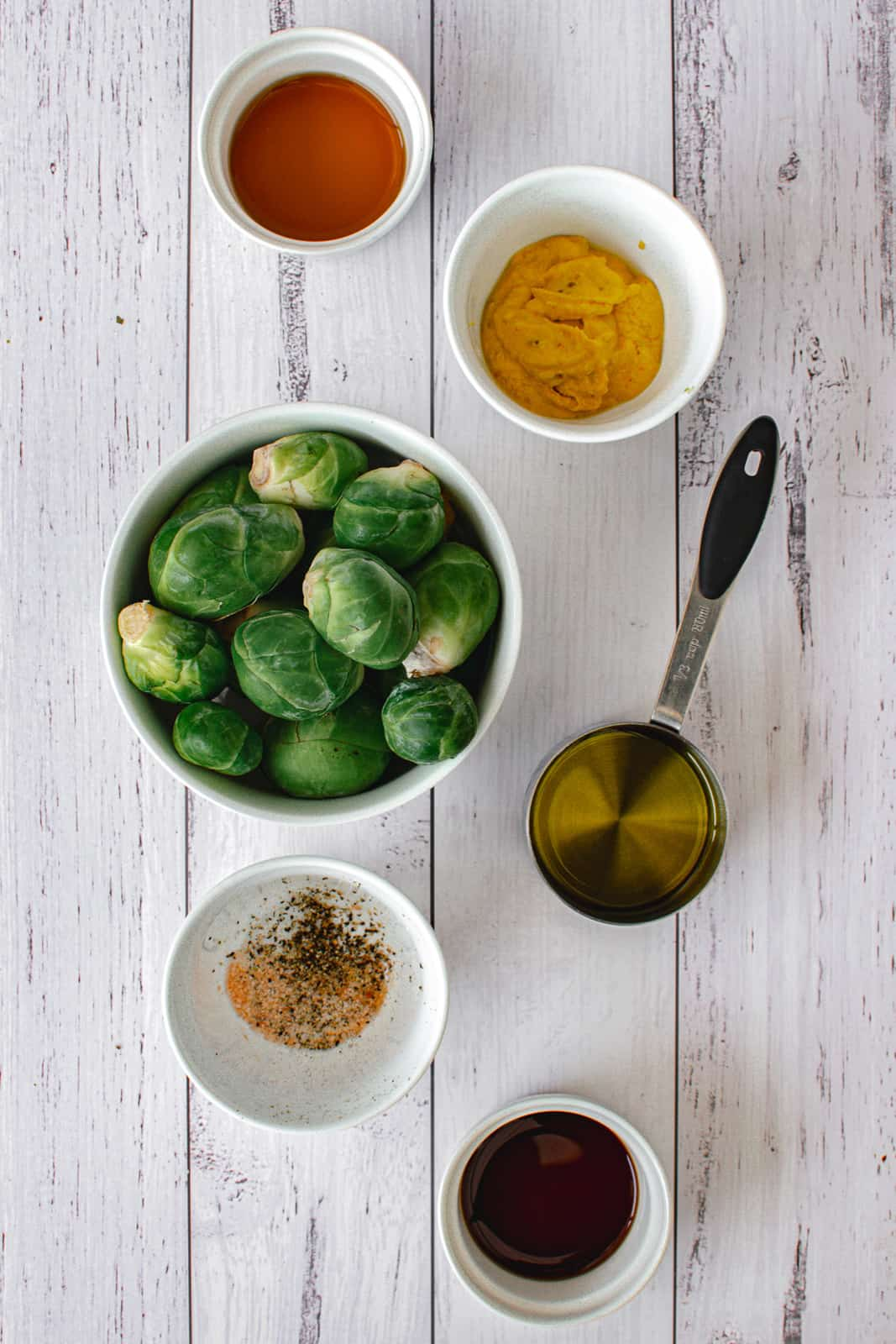 ingredients to make brussels sprouts with maple balsamic dressing