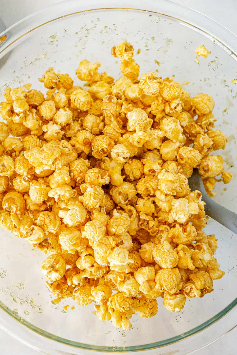 maple caramel sweetened popcorn in a bowl