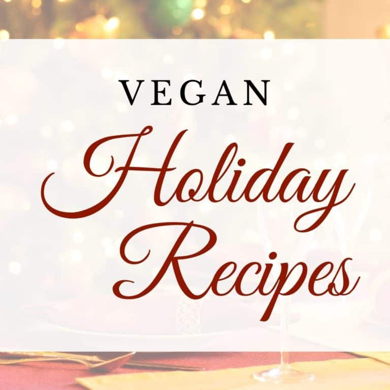 graphic of vegan holiday recipes