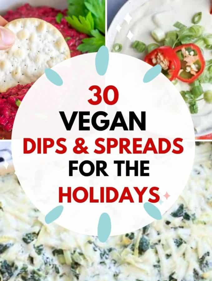 collage f vegan dips and spreads graphic