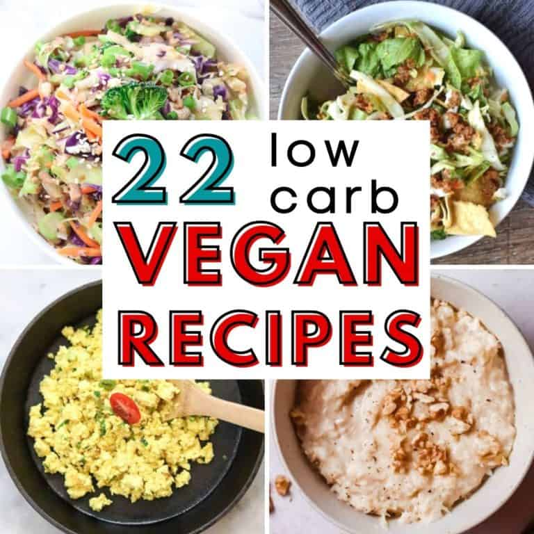 collage of low carb vegan recipes photos