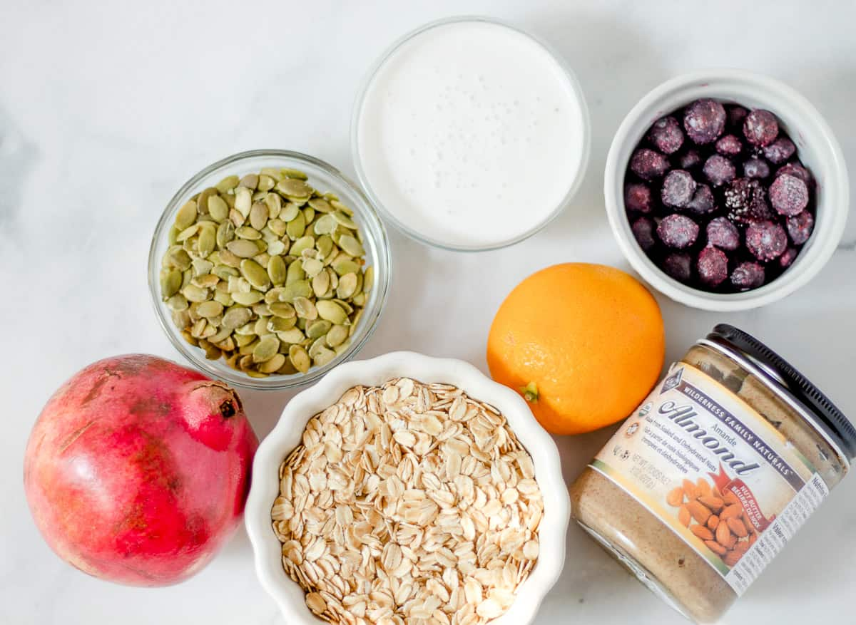 ingredients to make vegan pomegranate oatmeal