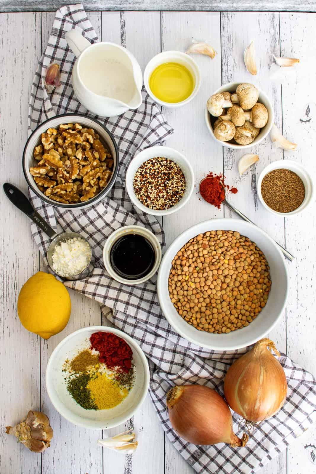 ingredients to make lentil cakes