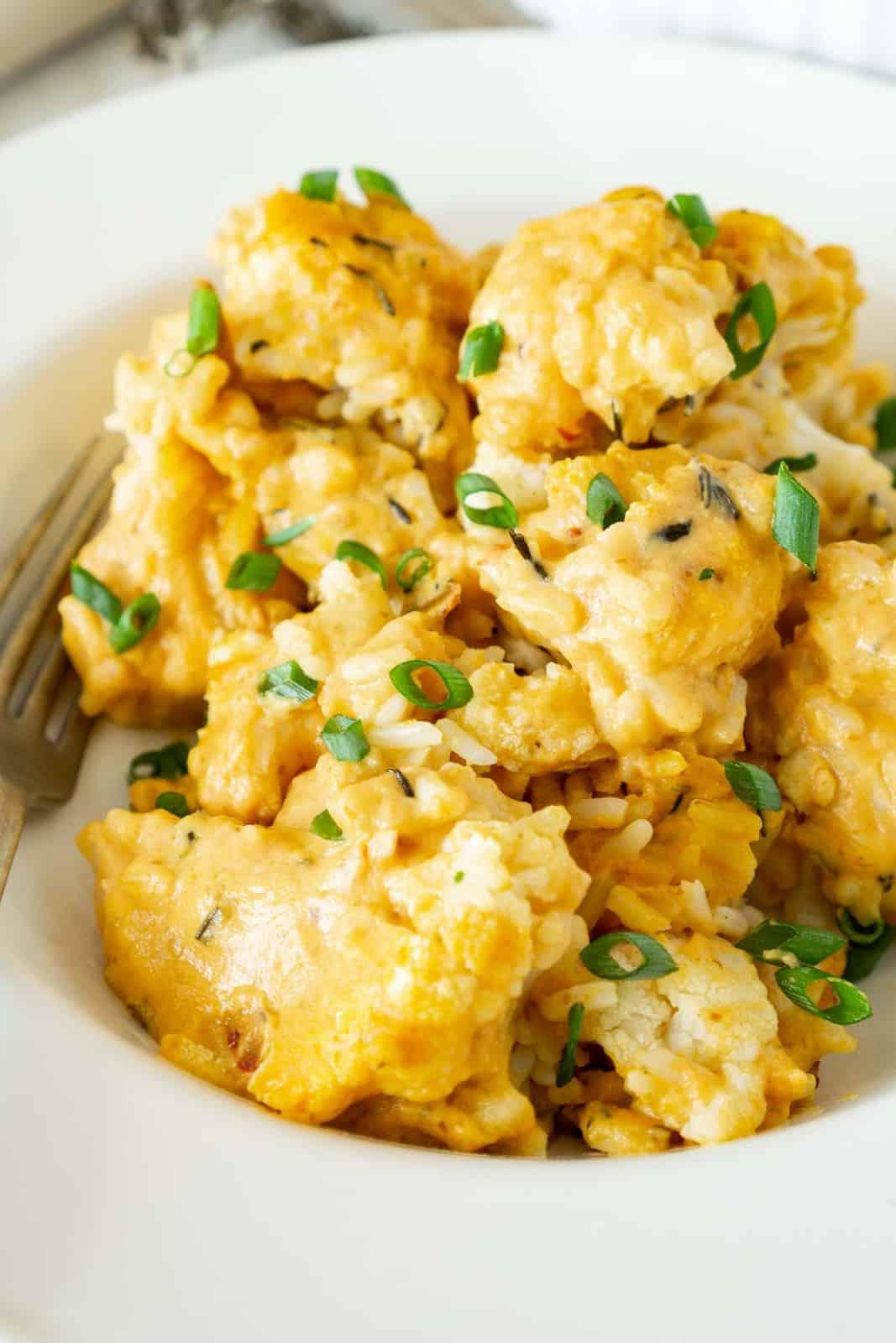 vegan cheesy cauliflower casserole on a plate