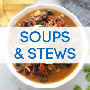 Soups and stews recipes graphic.