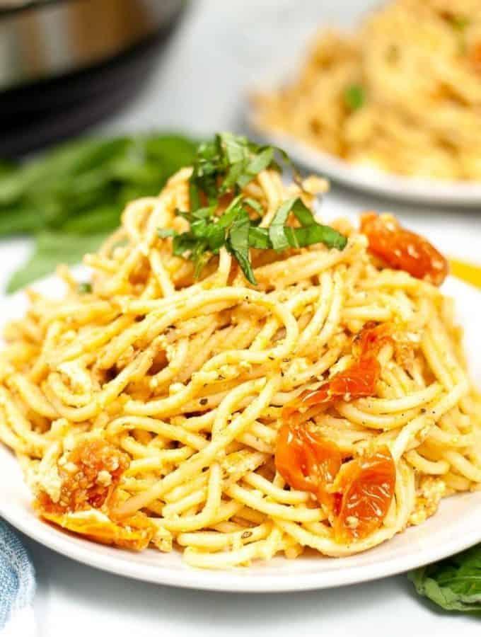 Plate of vegan feta pasta.