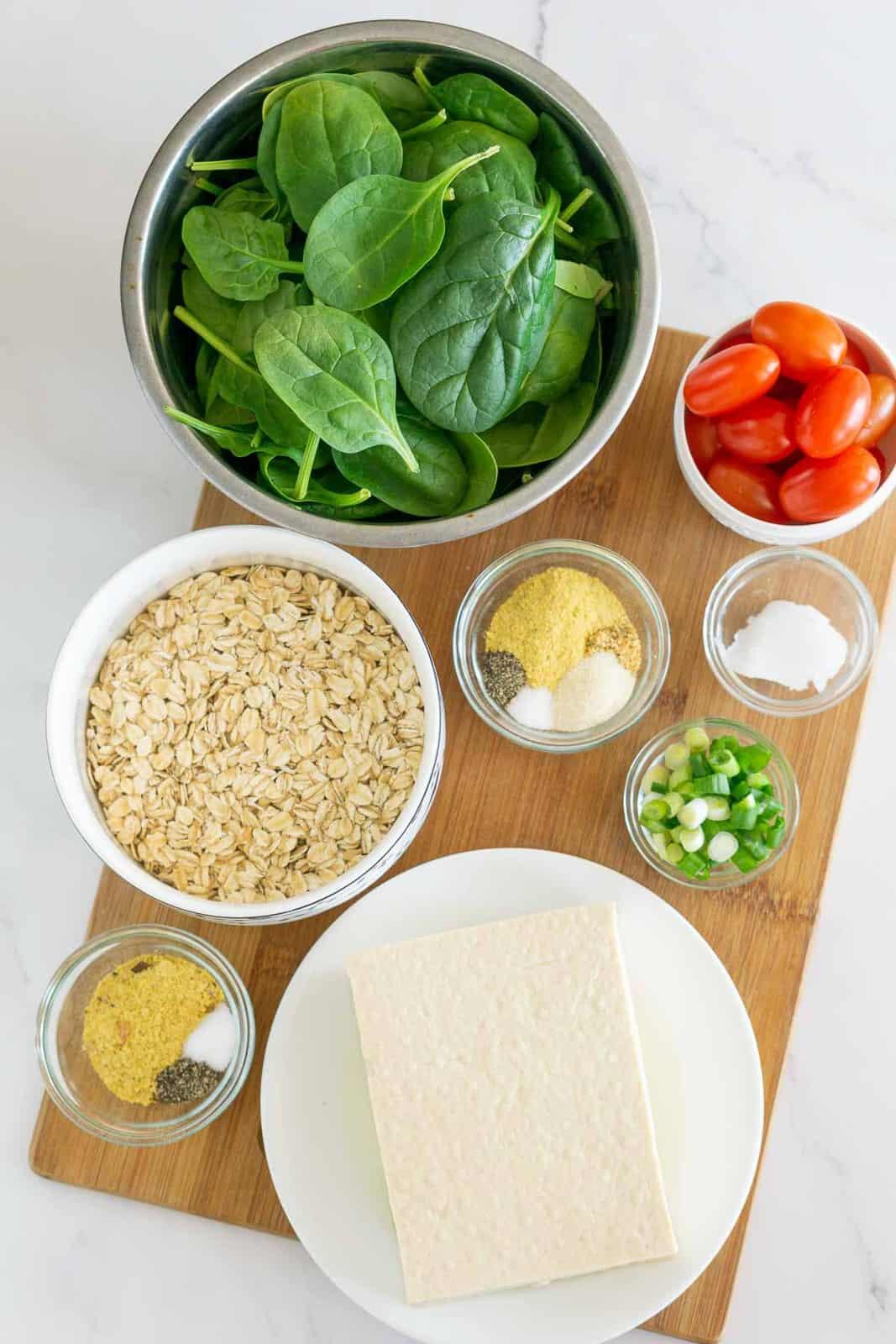Ingredients to make savory vegan oatmeal.