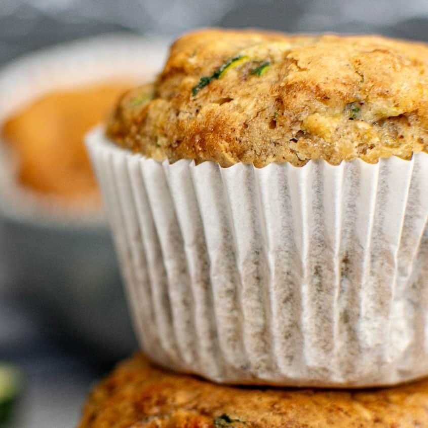 Close up of a vegan zucchini muffin.