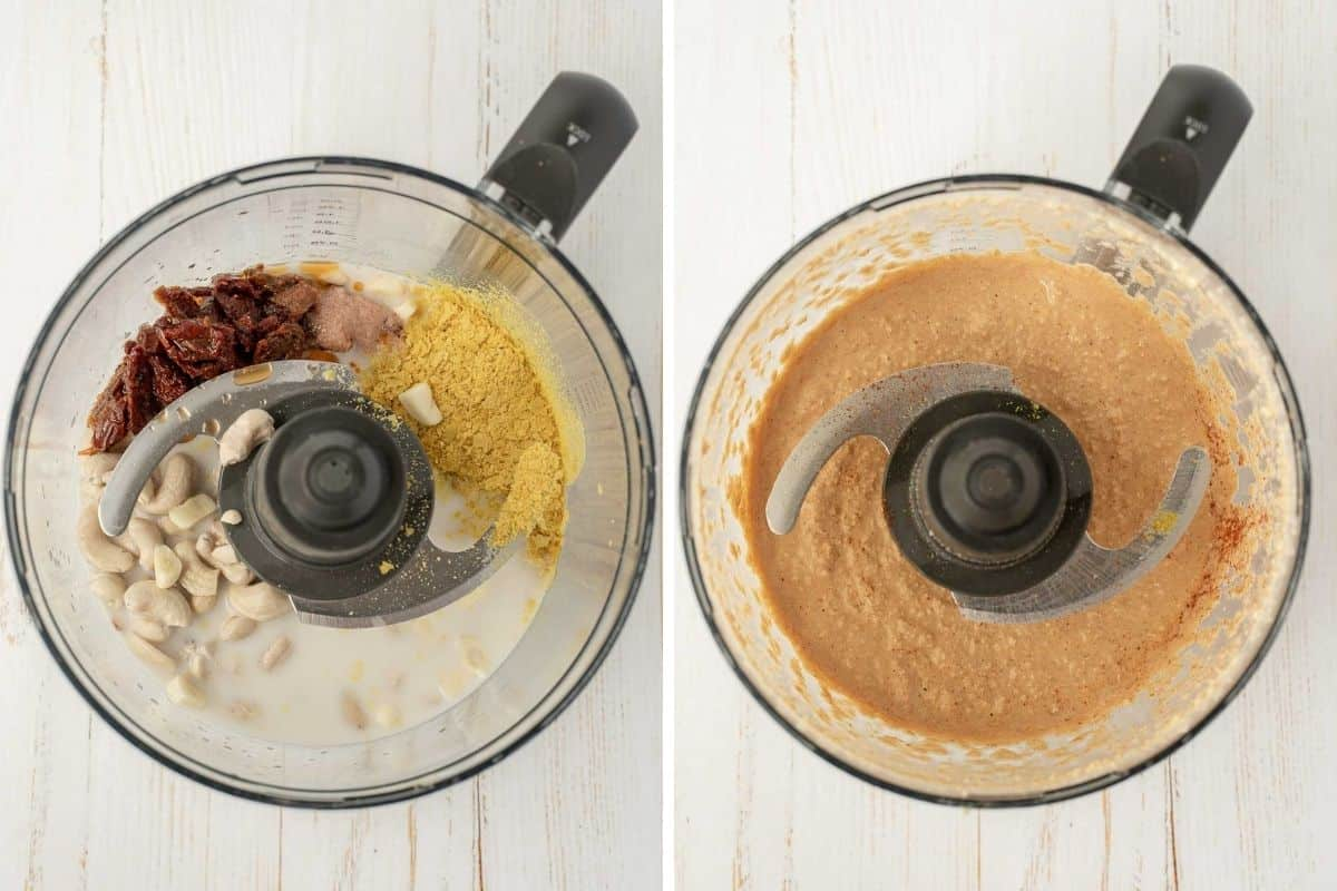 Collage of 2 pictures for how to blend vegan cashew cheese in a food processor.