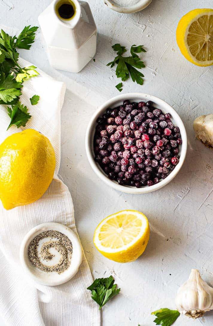 Ingredients for blueberry lemon vinaigrette.