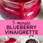 Pinnable Image of Blueberry Vinaigrette vegan dressing.