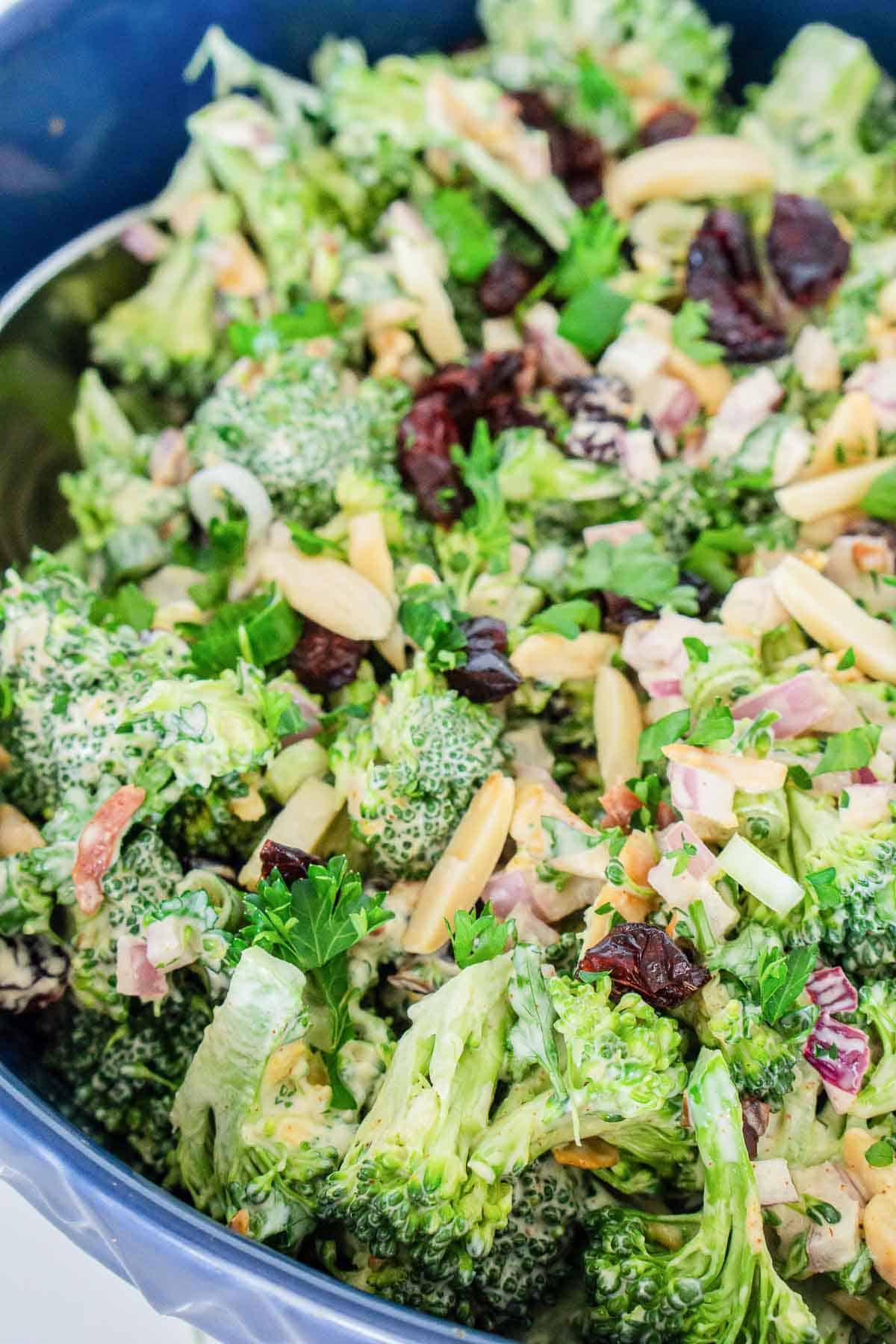 Vegan broccoli salad with vegan mayo.