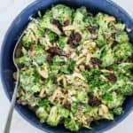 Broccoli salad in a bowl.