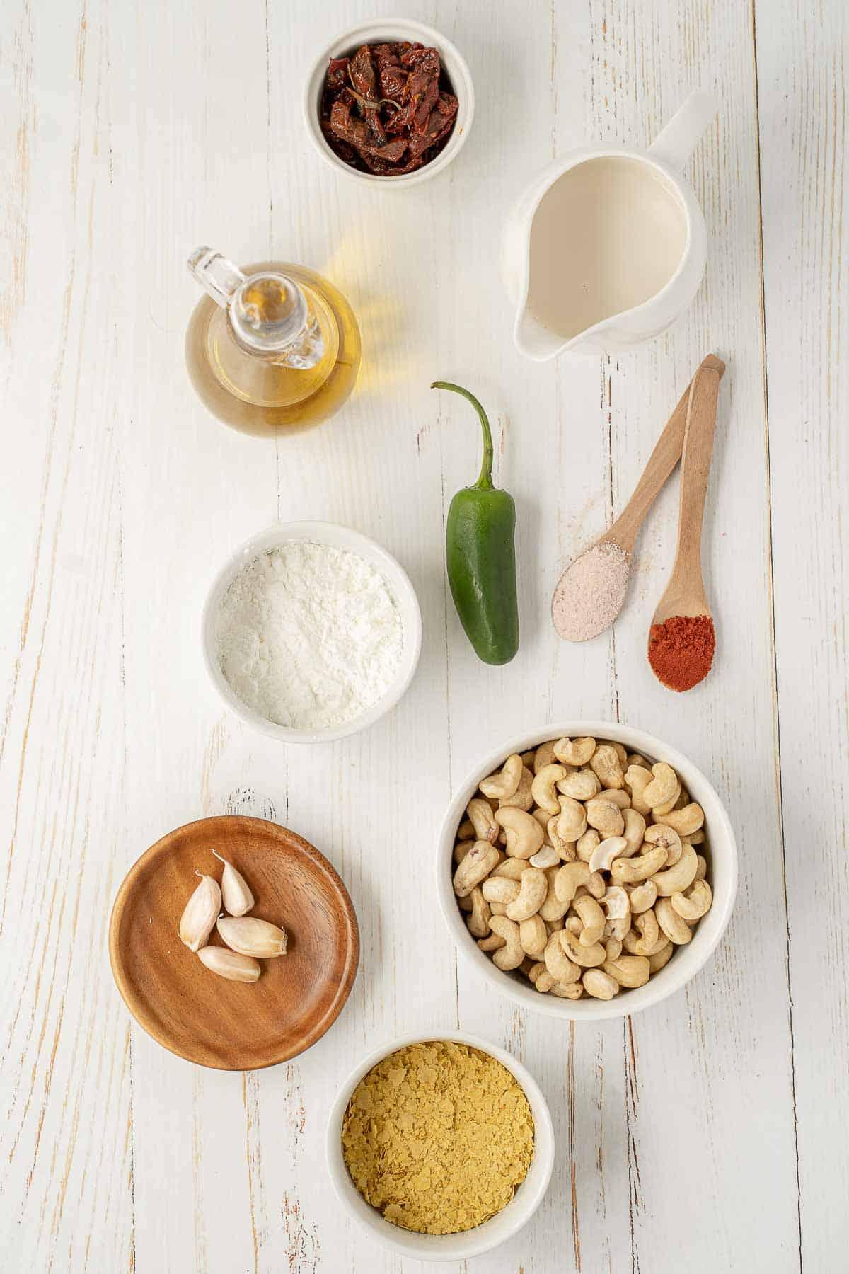 Ingredients to make vegan cheese dip.