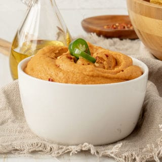 Vegan cashew cheese dip in a bowl.