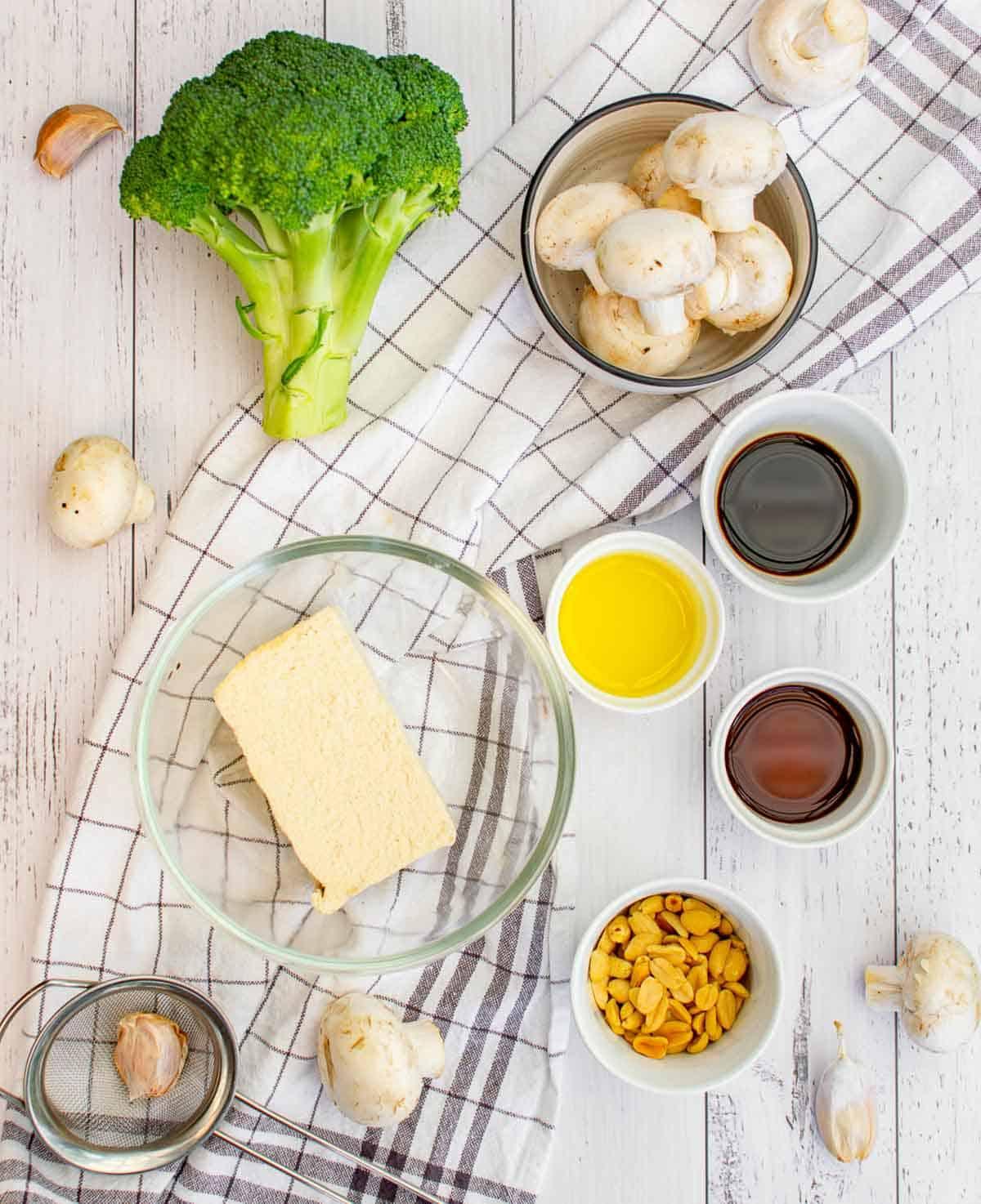 Ingredients to make vegan broccoli tofu stir fry.