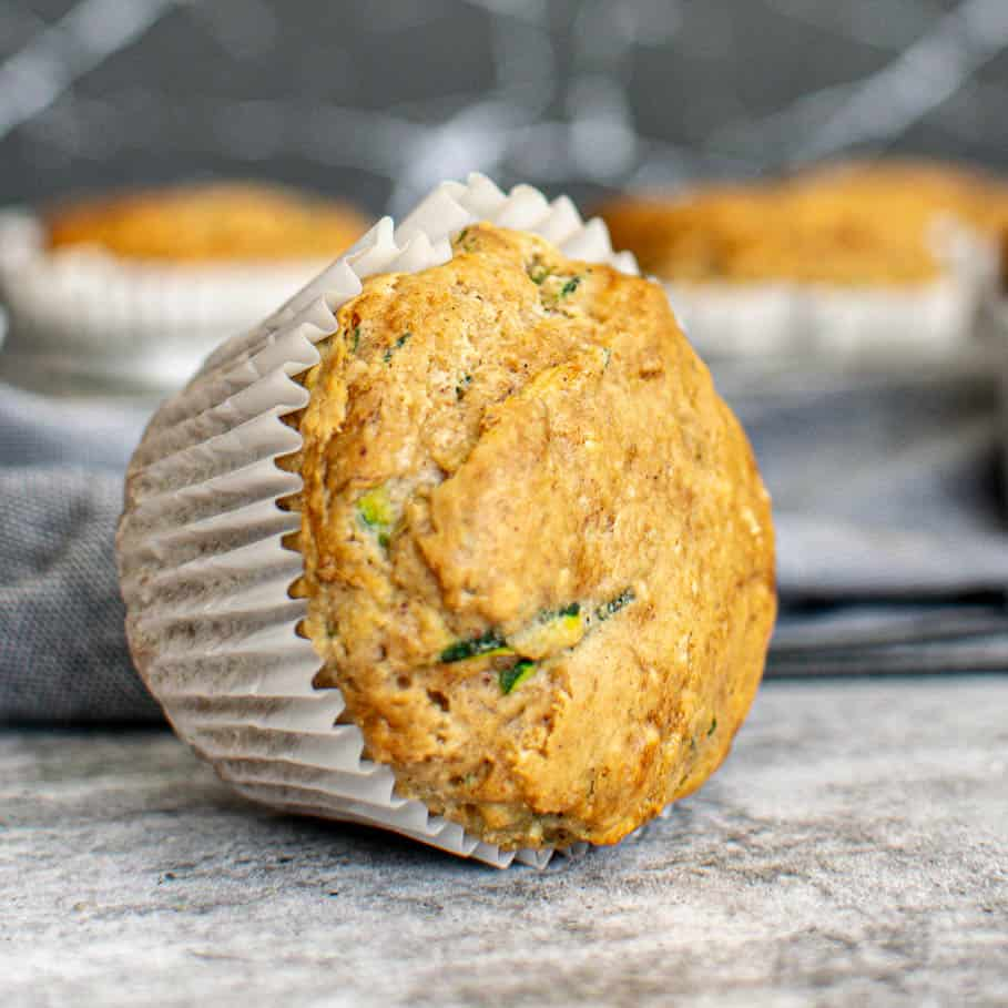 Zucchini muffin on the counter.