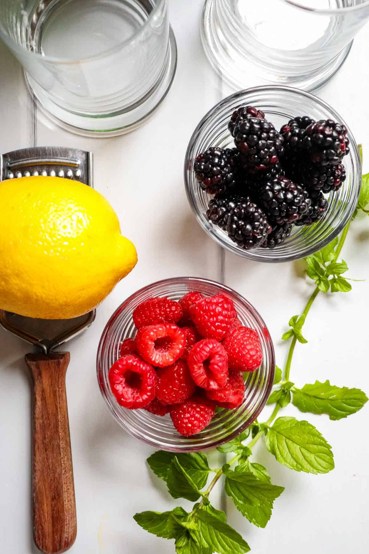 Ingredients to make berry spritzers.