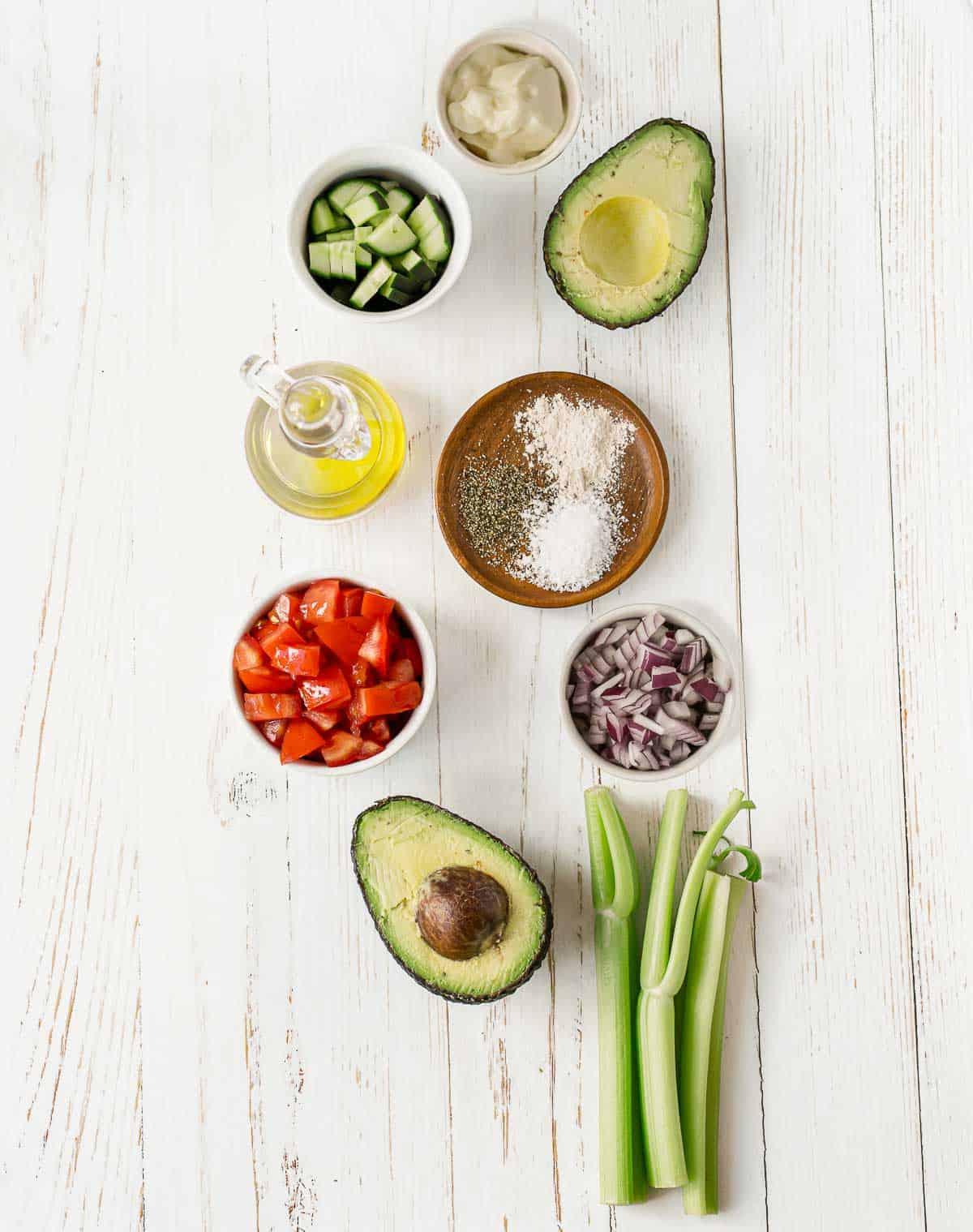 Ingredients to make vegan avocado salad.