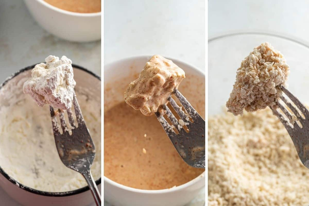Collage of dipping tofu nugget into cornstarch, milk mixture, and panko breadcrumbs.