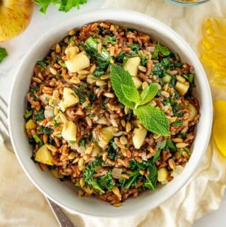Red rice salad with apples and kale in a white bowl.