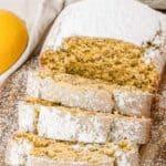 Pinnable image with text: Vegan Lemon Loaf.