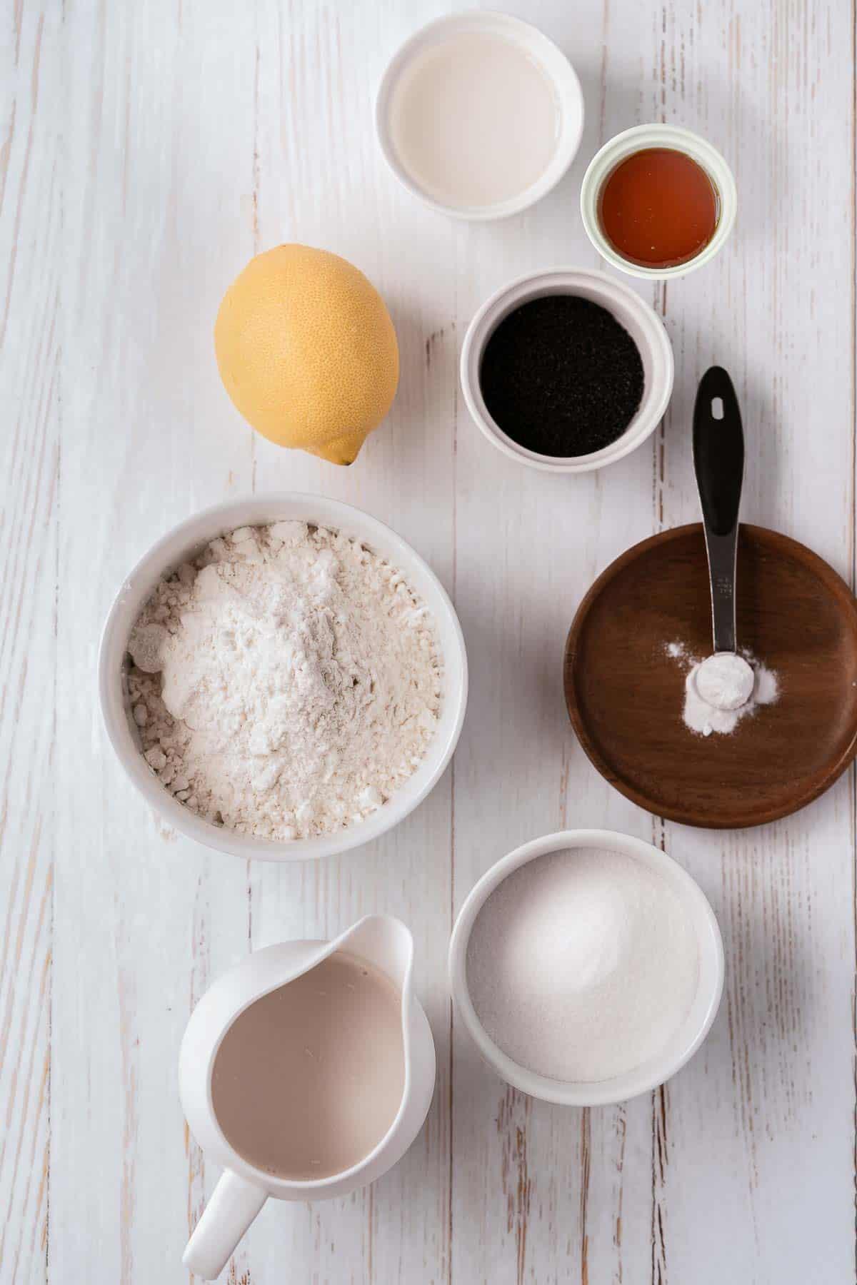 Ingredients to make vegan lemon poppy seed loaf.