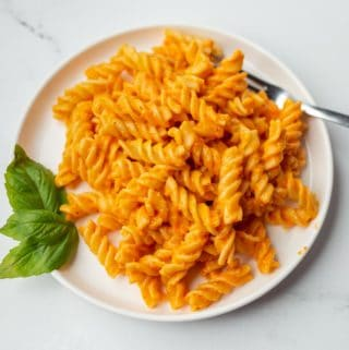 Plate of pasta with vegan roasted red pepper sauce.